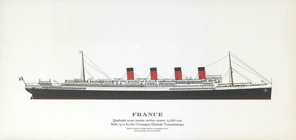 Associate Product France ocean liner 1912. Compagnie Générale Transatlantique 1961 old print