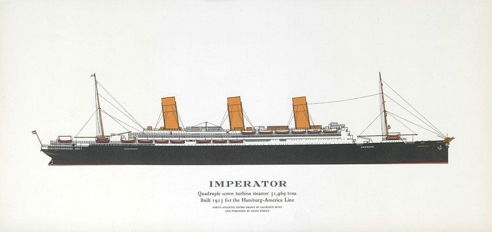 Associate Product Imperator ocean liner 1913. Hamburg-America Line / HAPAG. Later Berengaria 1961