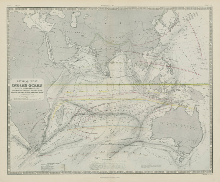 Indian Ocean physical chart. Hurricane Typhoon tracks. Currents 1856 old map