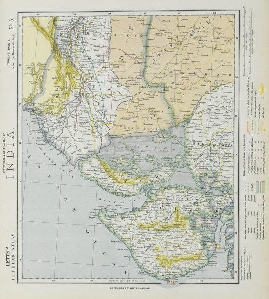NW INDIA & S PAKISTAN. Sindh Gujarat Karachi Hyderabad. Railways. LETTS 1884 map