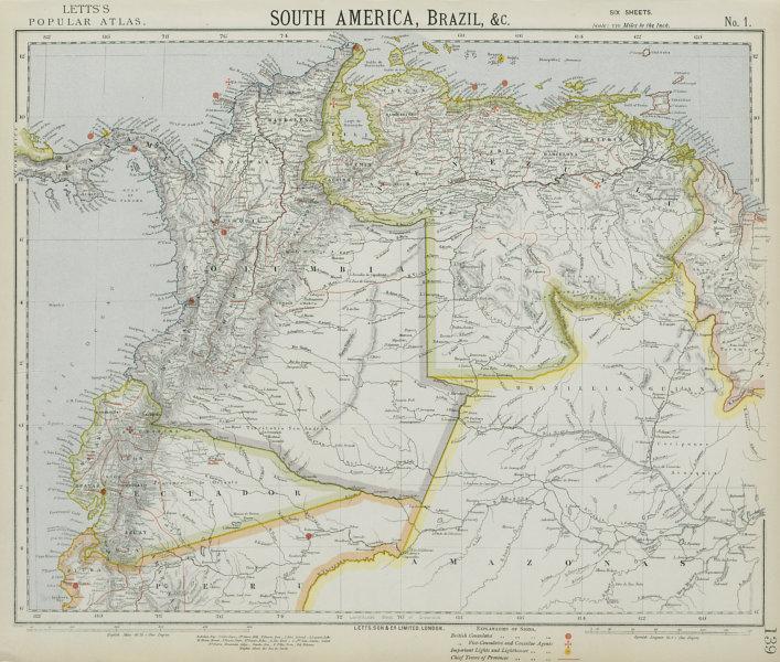AMAZONIA & ANDEAN STATES. Colombia includes Panama. Venezuela. LETTS 1884 map