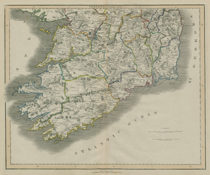 Ireland with all the railways - complete & planned. South sheet. LIZARS 1842 map