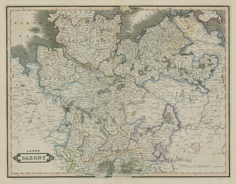 Lower Saxony. Holstein & Mecklenburg. LIZARS 1842 old antique map plan chart