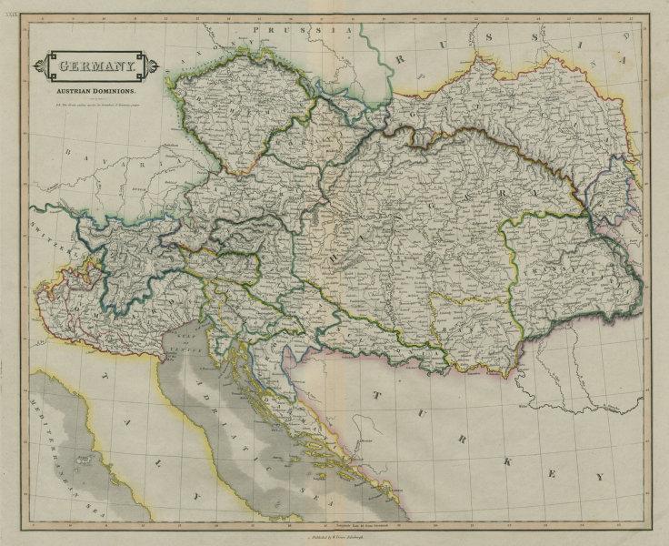 Germany, Austrian dominions. Lombardy Hungary Czechia Dalmatia. LIZARS 1842 map