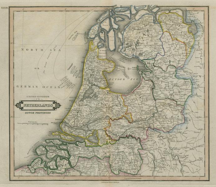 Holland. Netherlands. Excludes Limburg (Treaty of London). LIZARS 1842 old map