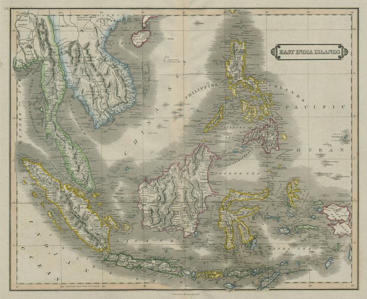 "East India Islands /Indies. ""Sincapore"" Singapore. Indochina. LIZARS 1842 map"