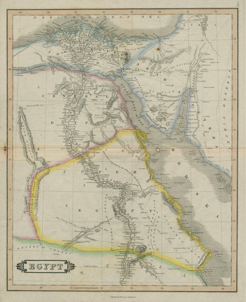 Egypt. Nile valley. Sinai. Oases. LIZARS 1842 old antique map plan chart