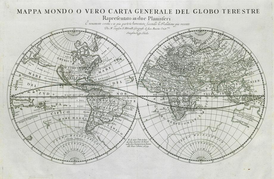 Cartina Mondo Hawaii.Mappa Mondo World In Twin Hemispheres Insular California De Rossi 1674
