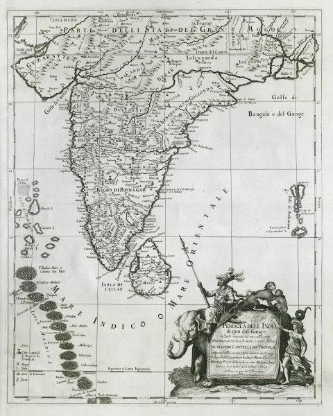 Penisola dell India di qua dal Gange Indian subcontinent ROSSI/CANTELLI 1683 map