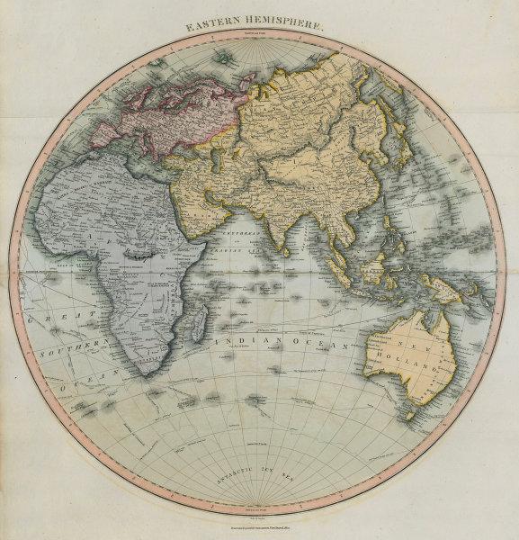 """Eastern hemisphere"". Europe Asia Africa Australasia. THOMSON 1817 old map"