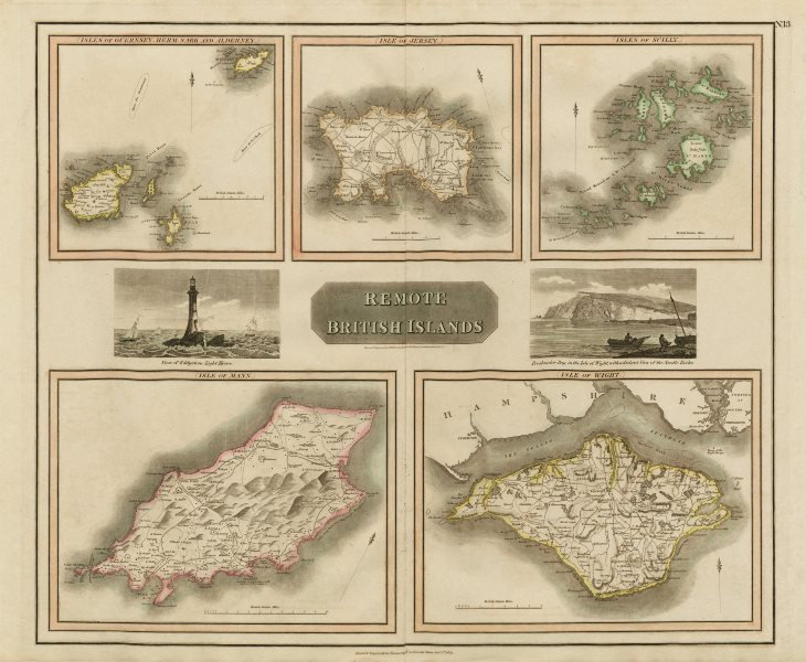 """""""Remote British Islands"""" Channel & Scilly Isles of Wight & Man. THOMSON 1817 map"""
