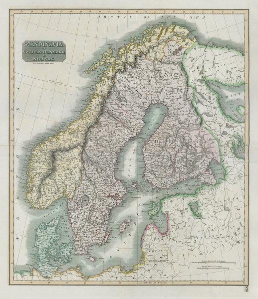 """Scandinavia or Sweden, Denmark & Norway"" Swedish Finland. THOMSON 1817 map"