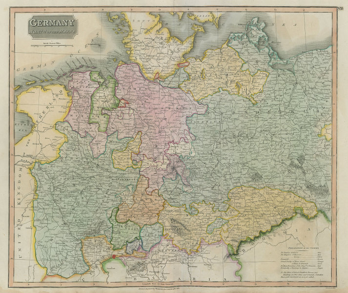 """""""Germany, north of the Mayne"""" (Main). Prussia Saxony Hanover. THOMSON 1817 map"""