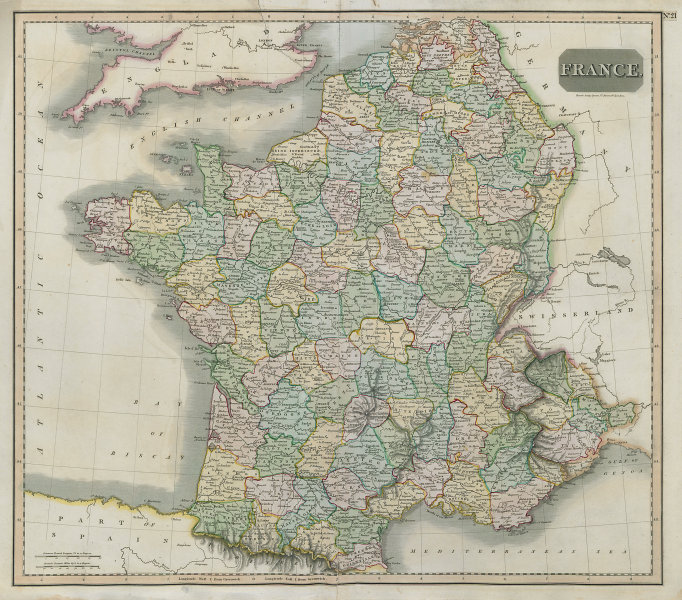 Revolutionary France with 6 Piedmont & 13 Belgian départements. THOMSON 1817 map