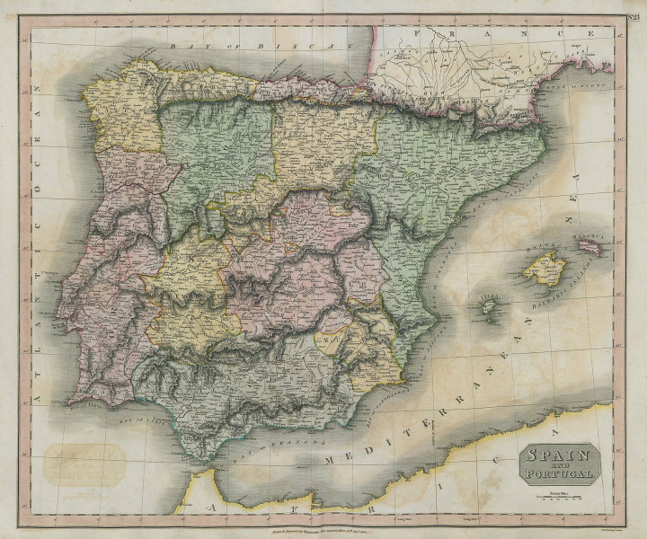 """""""Spain and Portugal"""" by John Thomson. Regions. Iberia 1817 old antique map"""