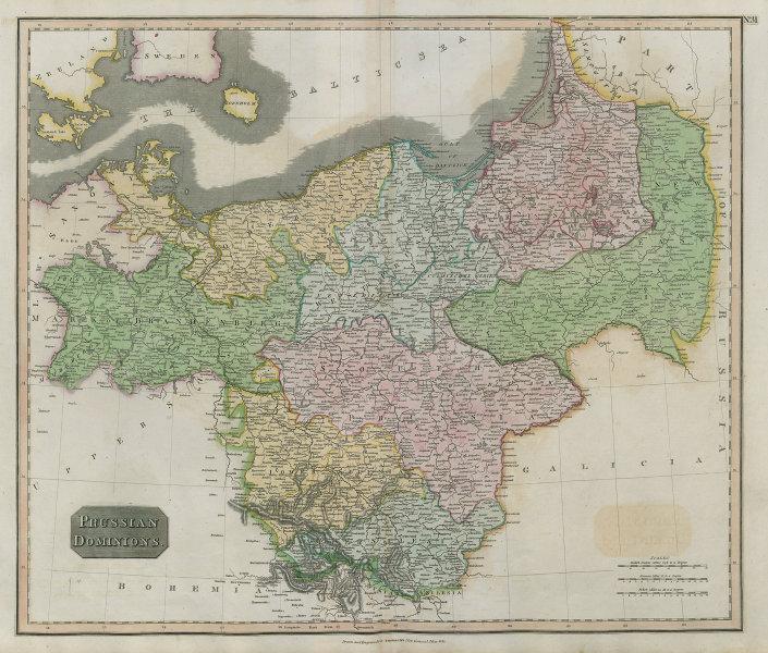 """""""Prussian dominions"""". Poland Brandenburg Pomerania Silesia. THOMSON 1817 map"""