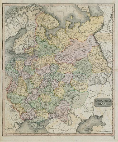 """European Russia"" including Baltics Ukraine Belarus. THOMSON 1817 old map"