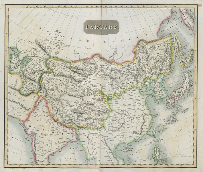 """Independent & Chinese """"Tartary"""". Central Asia Silk Road Tibet. THOMSON 1817 map"""