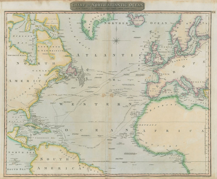 """""""North Atlantic Ocean"""" showing Nelson's & trade routes. THOMSON 1817 old map"""