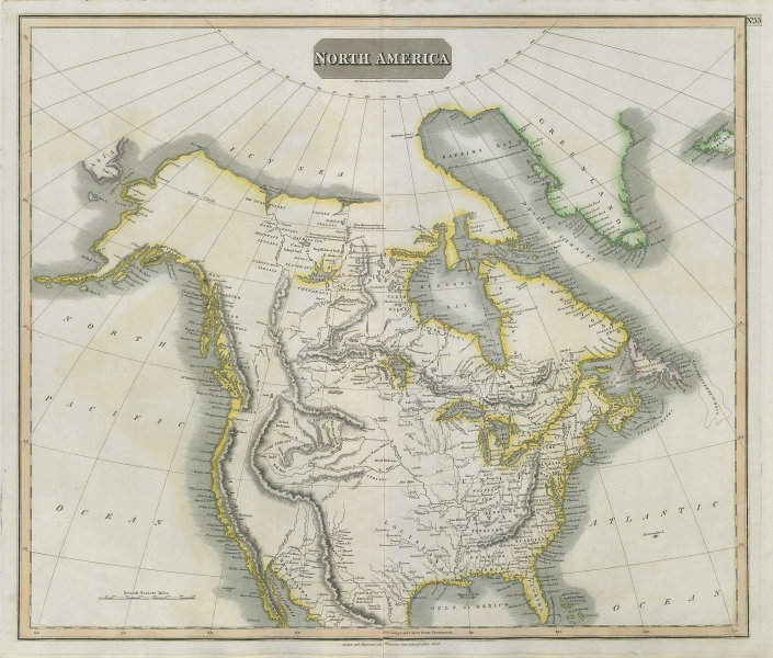 """""""North America"""" by John Thomson. Forts, Missions & Indian settlements 1817 map"""