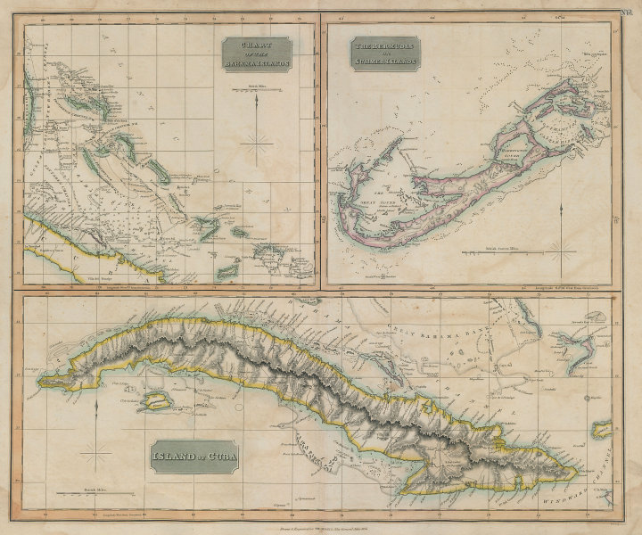 """The Bahamas, Cuba & Bermuda """"or Summer Islands"""". THOMSON 1817 old antique map"""