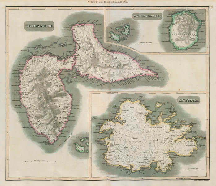 Antigua, Guadeloupe & Marie-Galante. Caribbean West Indies. THOMSON 1817 map