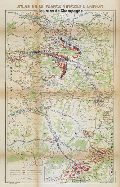 CHAMPAGNE WINE/VINS MAP Carte Générale showing vineyards vignobles. LARMAT 1944