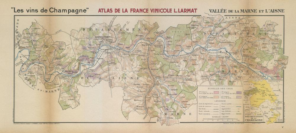 CHAMPAGNE WINE MAP Vallée de la Marne & l'Aisne. Damery-St Aulde. LARMAT 1944