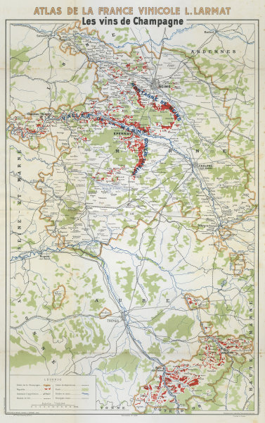 CHAMPAGNE VINS/WINE MAP Carte Générale showing vineyards vignobles. LARMAT 1944