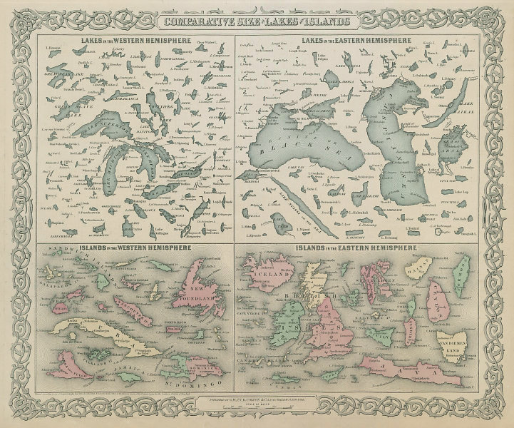 Comparative Size of World's largest Lakes & Islands. COLTON 1869 old map