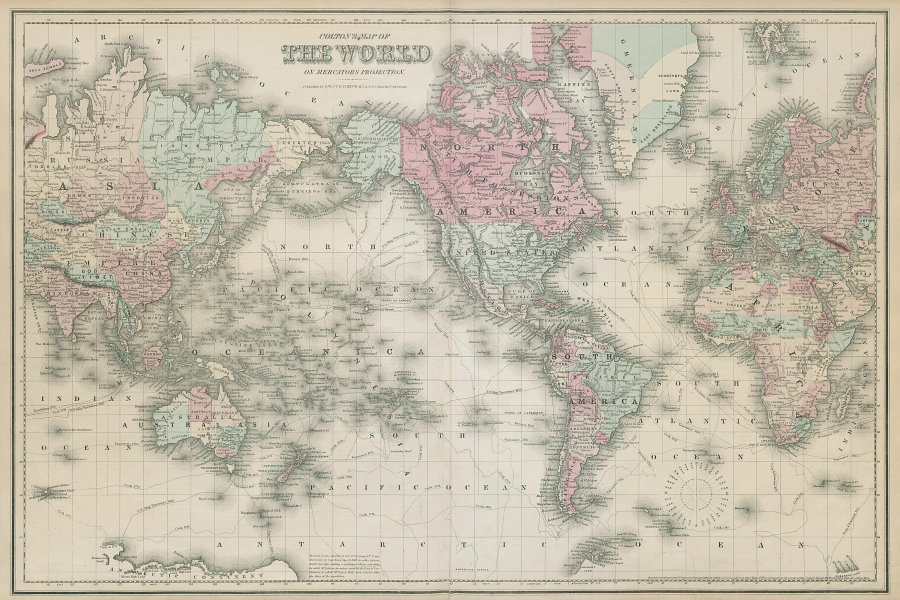 World on Mercator's projection. Americas-centric antique map. COLTON 1869