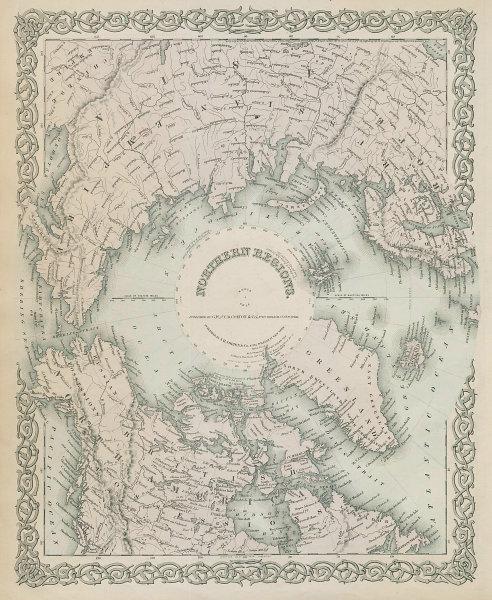 """Northern Regions"". North Pole Arctic Canada Siberia Greenland. COLTON 1869 map"