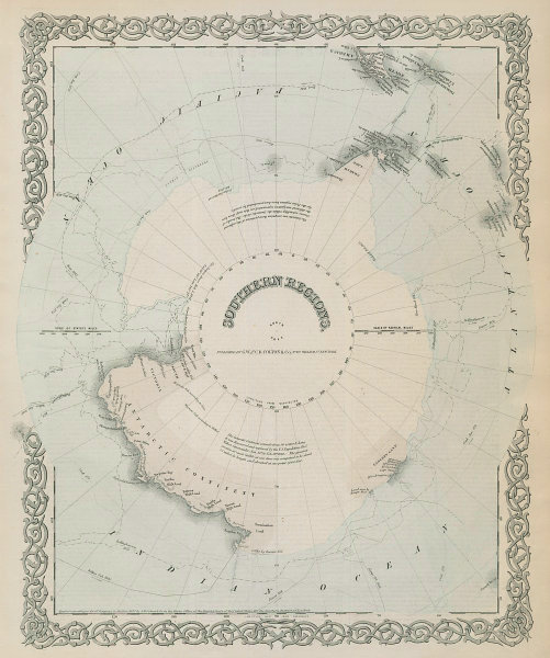 """""""Southern Regions"""". South Pole Antarctica. Explorers' routes. COLTON 1869 map"""