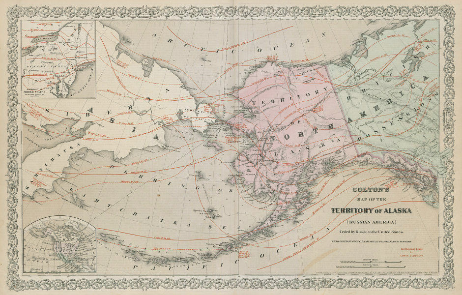 Territory of Alaska ceded by Russia to the United States. COLTON 1869 old map