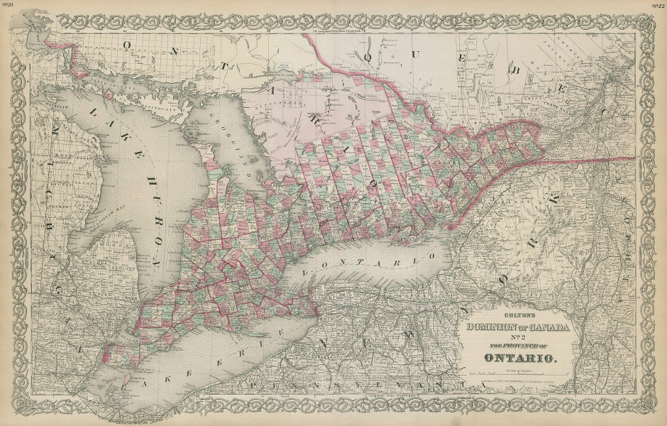 Colton's Dominion of Canada No. 2 Ontario. Great Lakes. Upper New York 1869 map