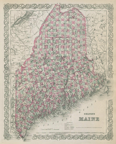 Colton's Maine. Decorative antique US state map 1869 old chart