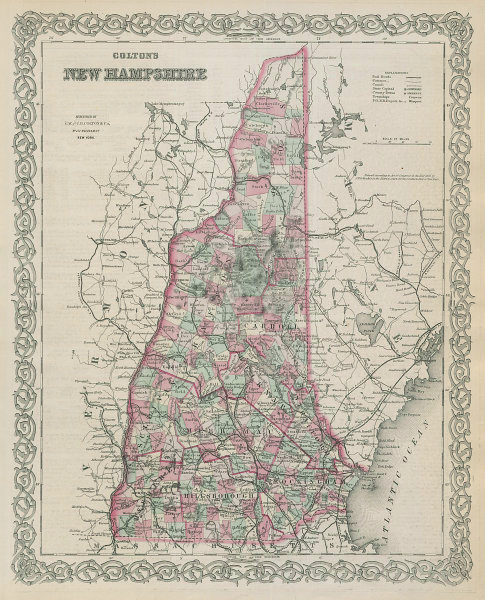 Colton's New Hampshire. Decorative antique US state map 1869 old