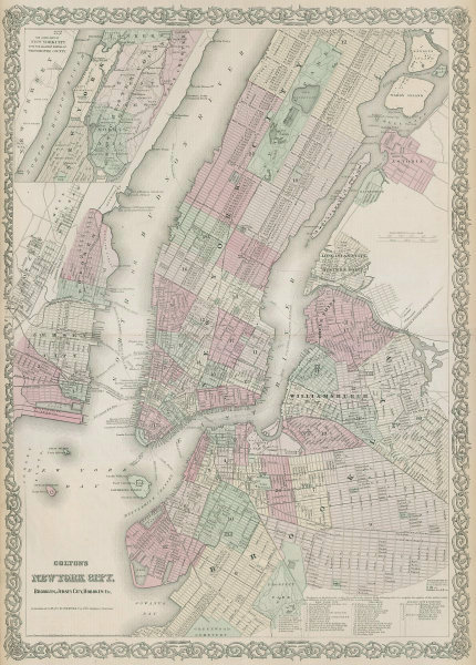 Colton's New York City, Brooklyn, Jersey City, Hoboken. Antique plan 1869 map