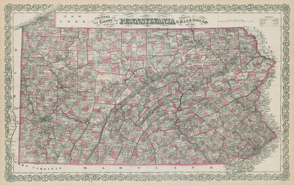 Colton's Pennsylvania. Decorative antique US state map 1869 old