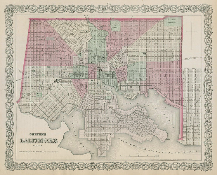 Colton's City of Baltimore, Maryland. Decorative antique town plan 1869 map
