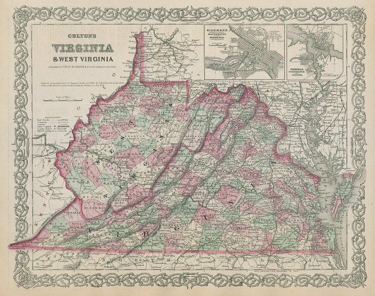 Colton's Virginia & West Virginia. Antique state map. Richmond Norfolk 1869