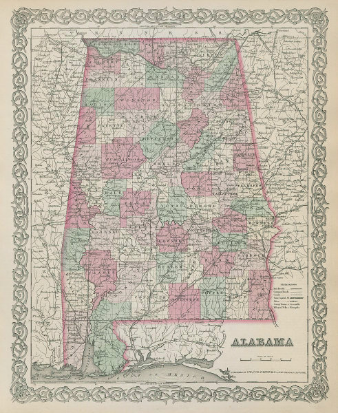 Colton's Alabama. Decorative antique US state map 1869 old chart