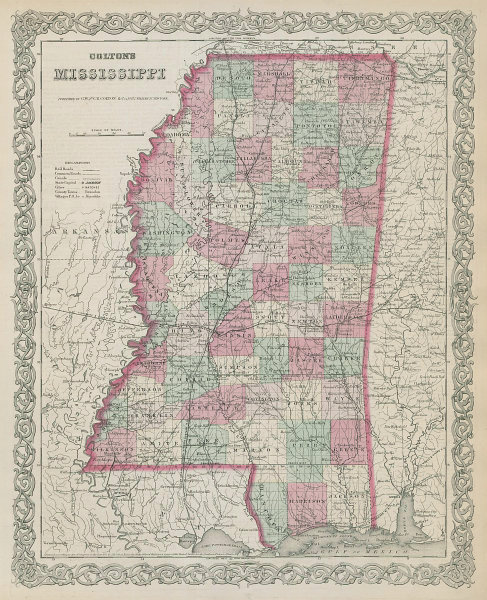 Colton's Mississippi. Decorative antique US state map 1869 old