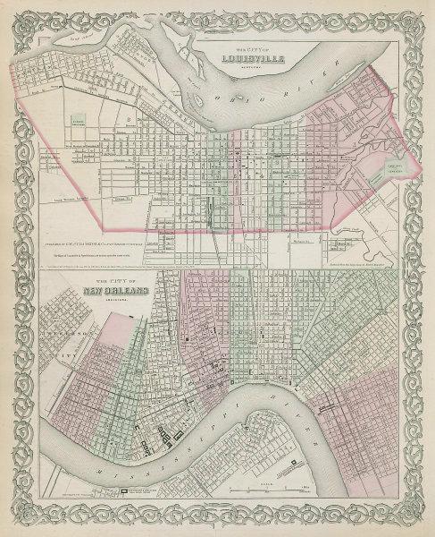 Louisville, Kentucky & New Orleans, Louisiana antique city plans COLTON 1869 map
