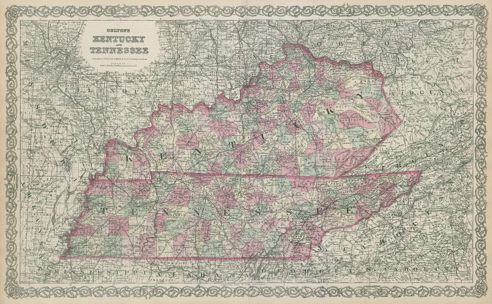 Colton's Kentucky and Tennessee. Decorative antique US state map 1869 old