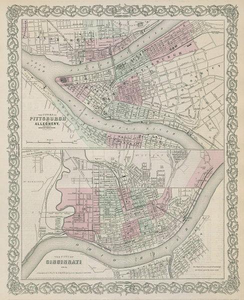 Pittsburgh/Allegheny, Pennsylvania. Cincinnati, Ohio city plans COLTON 1869 map