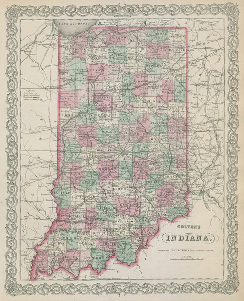 Colton's Indiana. Decorative antique US state map 1869 old chart