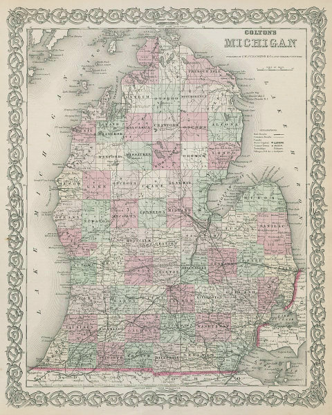 Colton's Michigan. Decorative antique US state map 1869 old chart