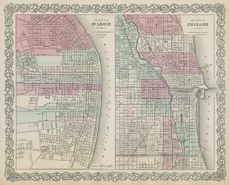 St Louis, Missouri & Chicago, Illinois antique town city plans. COLTON 1869 map