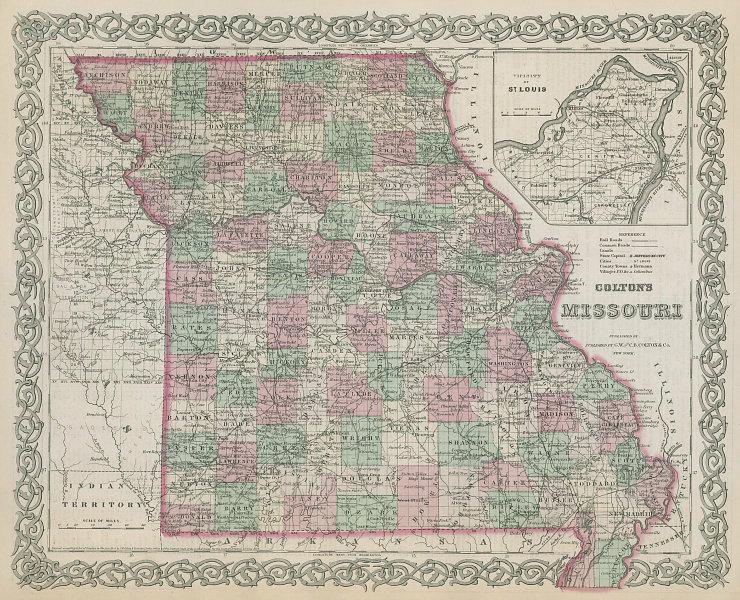 Colton's Missouri. Decorative antique US state map 1869 old chart